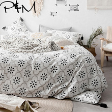 Papa&Mima Twin Queen King size Nordic style fashion bedding set Cotton flat sheet pillowcases duvet cover sets Dropshipping