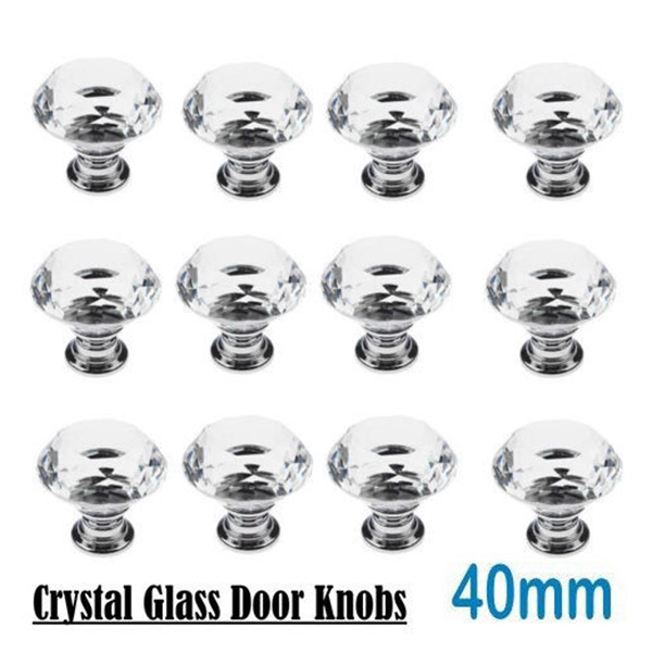 1/4/6/8/12/16 Pcs 40mm Diamond Shape Glass Knobs for furniture Drawer Cabinet Kitchen Pull Handles Knobs Handle Wardrobe 40mm diamond shape crystal glass door handle knob with screws for furniture drawer cabinet kitchen pull handle wardrobe