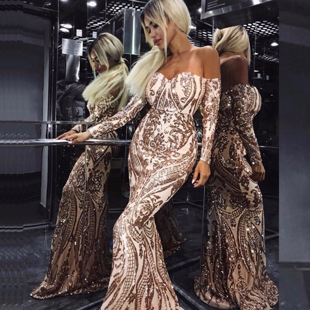Sexy Célébrité Élégant Robe Longues Longue De Shouder Automne Maxi Or Femmes Off 2018 Nu The Sequin Dos Manches Mode À Mesh Soirée q1wCg7x