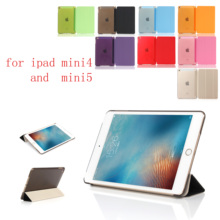 PC Leather Siamese Case for Apple iPad Mini 4 5 Fashion Smart Cover + PC translucent back Cover for Apple iPad Mini4 5 apple ipad mini 4 smart cover sea blue mn0a2zm a