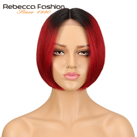 Rebecca Silky Straight Short Bob Lace Front Human Hair Wigs For Women Two Tone 1B/Red Color Middle Part Ombre Lace Wig 120g