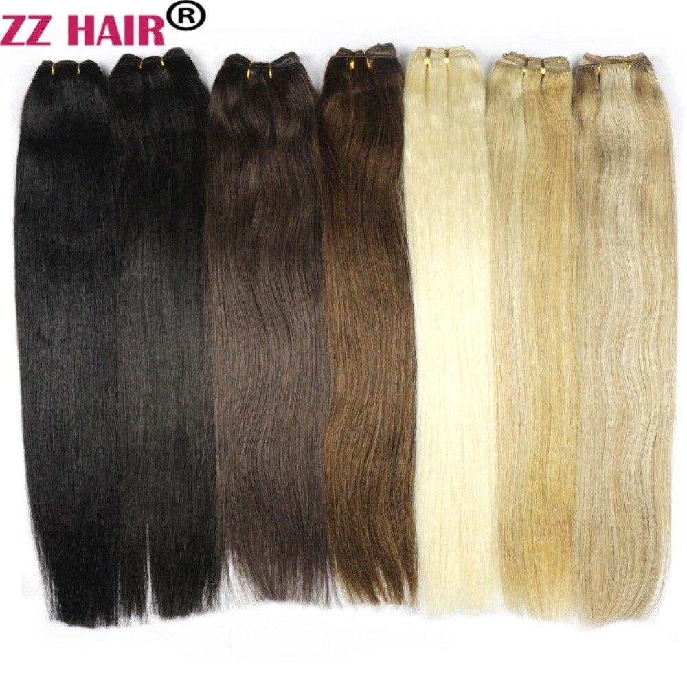 Zzhair 100 г/шт. 16 -24 машина сделала Волосы Remy утка ткачество 100% Пряди человеческих волос для наращивания прямые натуральный шелк- заколки для во...