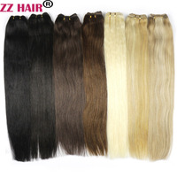 ZZHAIR 100g Pcs 16 24 Machine Made Remy Hair Weft Weaving 100 Human Hair Extensions Straight
