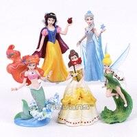 Snow White Elsa Ariel Bella Tinker Bell Toys Dolls PVC Figures Girls Birthday Christmas Gifts 5pcs/set