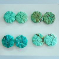 SALE 4 Pairs Carved Turquoise Flower Gemstone Cabochon Pairs 13x12x3mm 8 57g