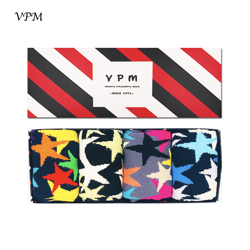VPM Over Size Eu 40-47 Combed Cotton Man Socks Colorful Star Compression Happy Socks Gift Box 4 Pairs/Lot