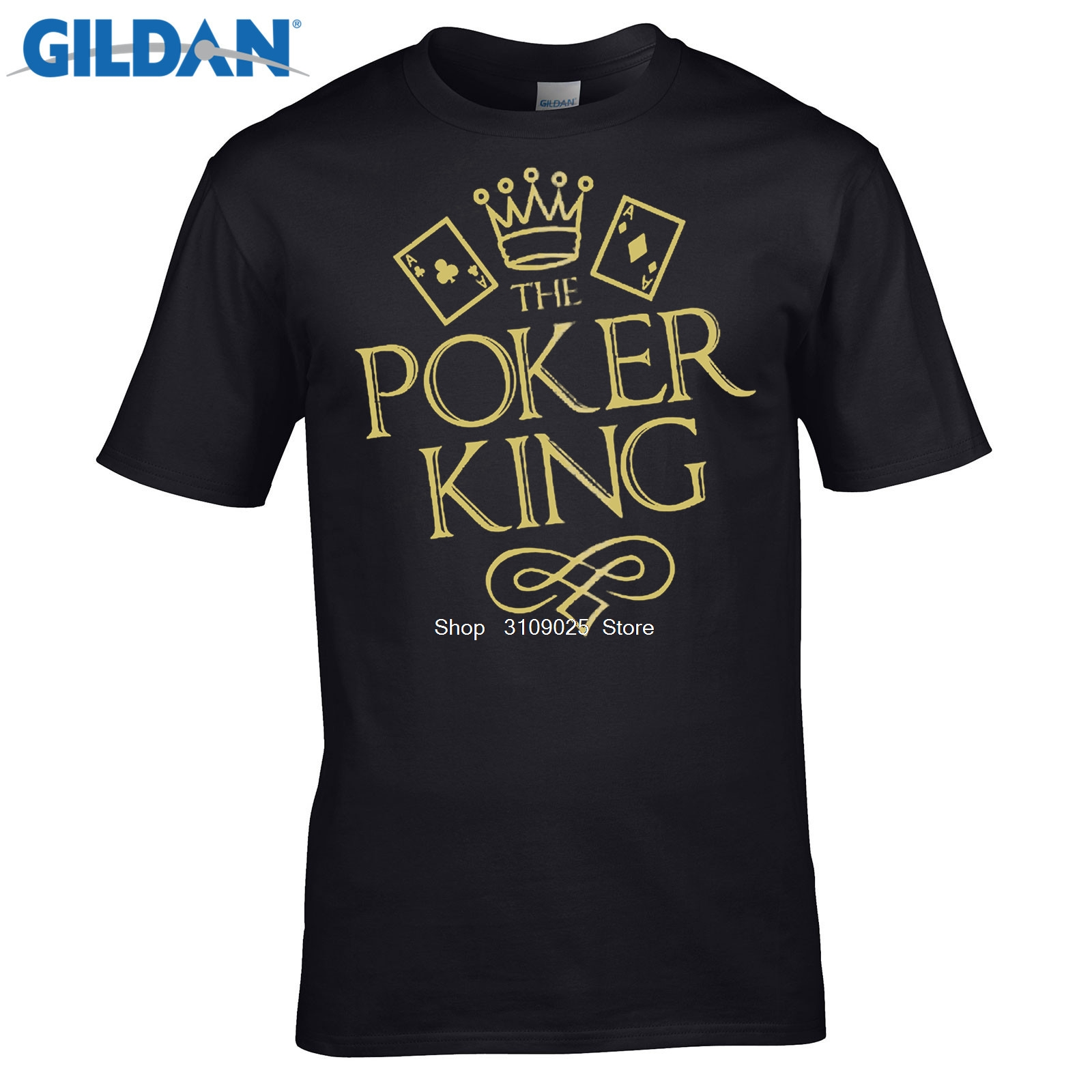 GILDAN 2017 Summer brand clothing Solid Color Men T shirt The Poker King Texas Hold Em Flush Gold Metallic Skate T-shirt