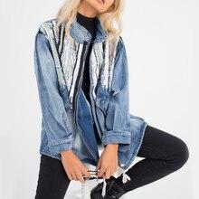 KHALEE YOSE Boho Jean Jackets Autumn Vintage Ripped Denim Jacket Women Sequin Long Sleeve Pocket Zip Oversized Coat Outerwear