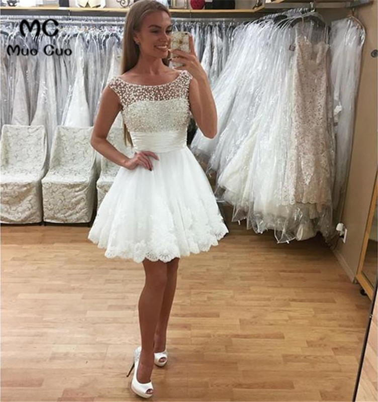 2018 Illusion white Lace   Evening     Dresses   with Pearls Prom   Dress   Off Shoulder Short Sleeves Tulle Formal   Evening     Dress   2018