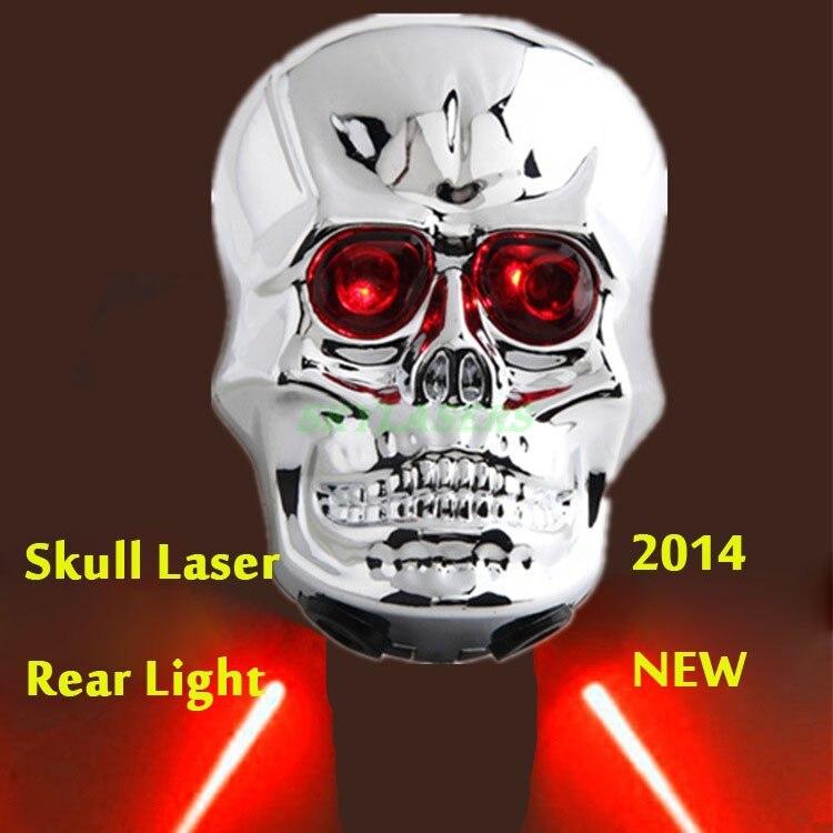 2Pcs Red Blue Skull Head Skeleton Decorative MTB Bike Rear Tail Flashing Light