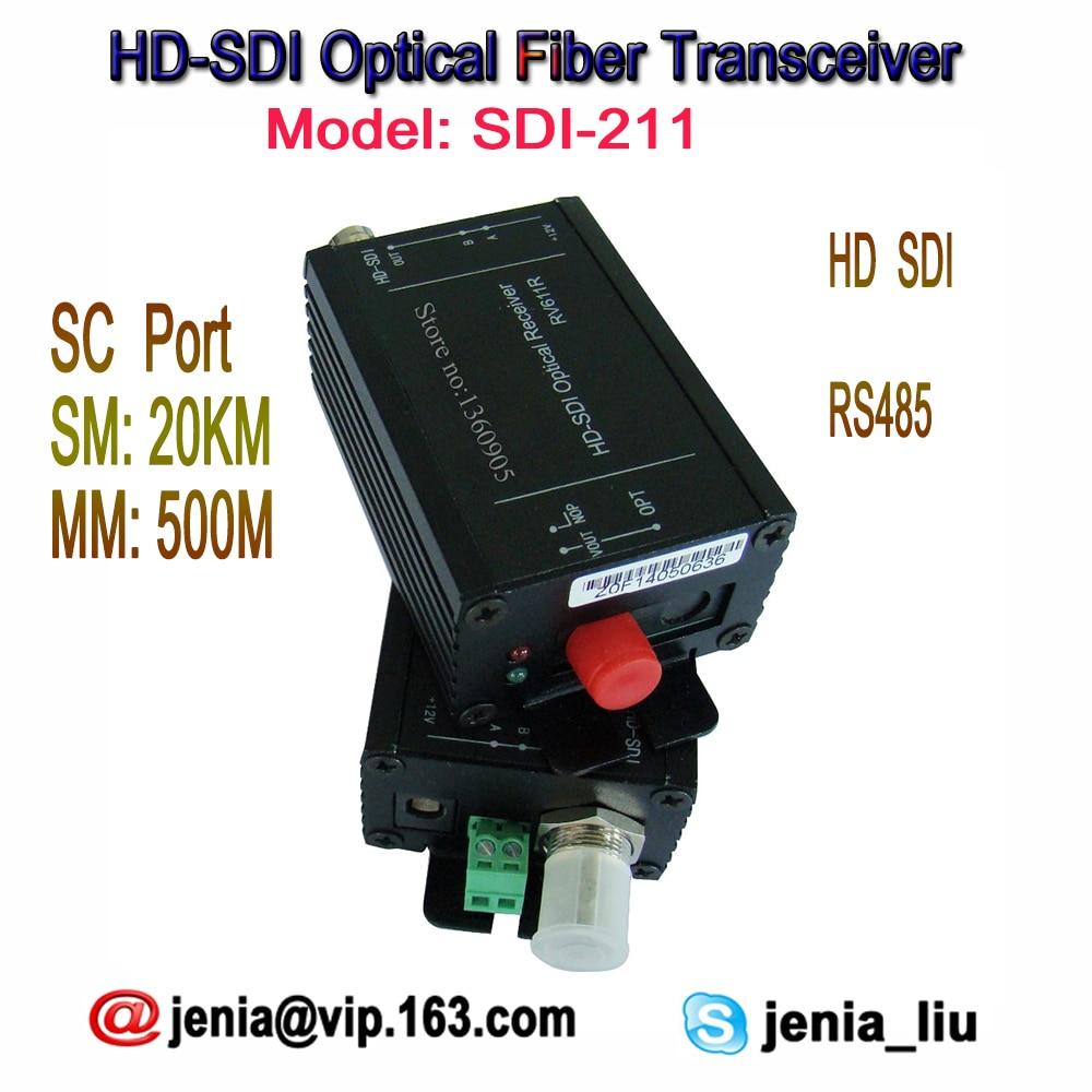 High Quality HD-SDI Optical Media Converter Fiber To HD SDI Transmitter & Receiver -Video/RS485 Data Over Fiber FC Port 20KM SM