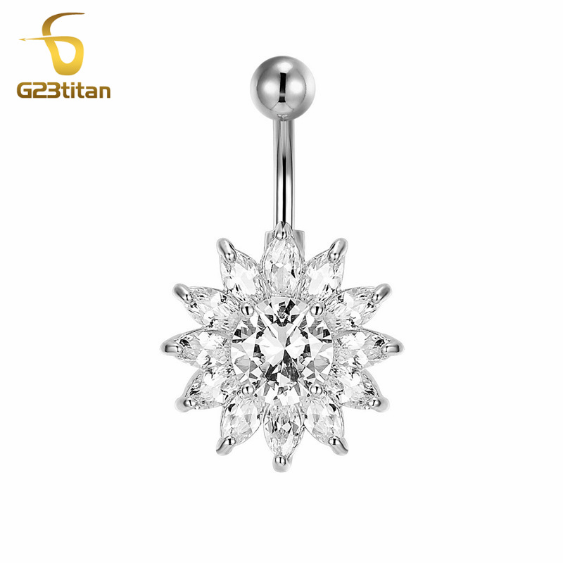 G23titan Big Crystal Flower Belly Rings Hypoallergenic 14g G23 Titanium Barbell Navel Piercing Jewelry