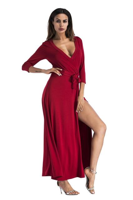 Sexy High Split Evening Party Long Dress with Belt Women Summer 2018 Sexy V  Neck Solid 3 4 Sleeve Elegant Maxi Dresses Vestido 09901498df58