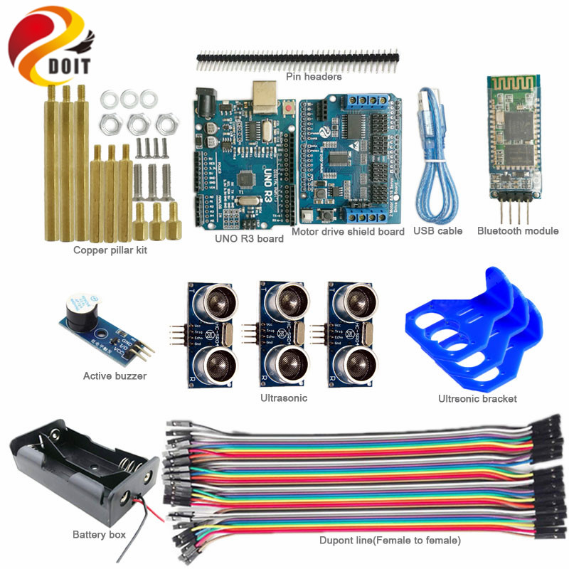 Official DOIT 1 set Bluetooth Control 3-way Ultrasonic Obstacle Avoidance Arduino Car Kit for Robot Chassis with Arduino UNO R3