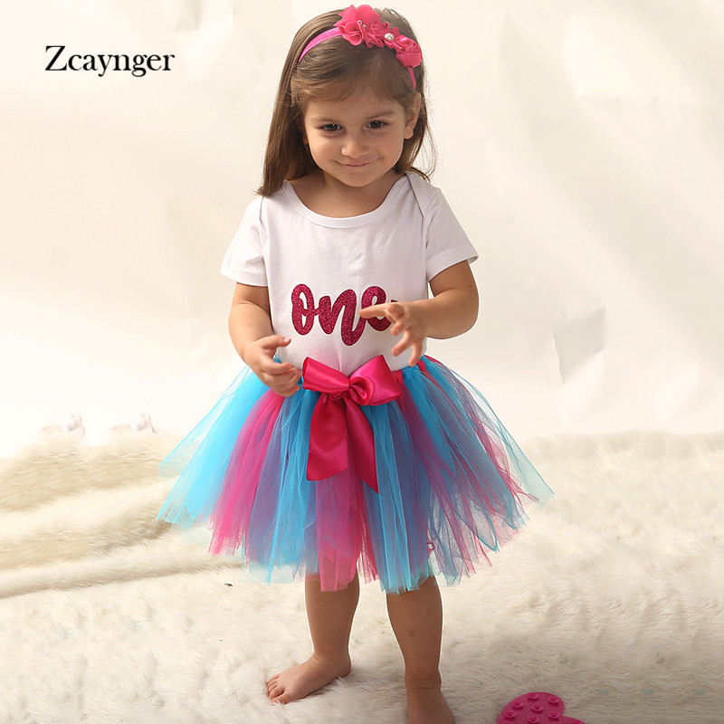 1st Birthday Party skirt 3pcs Summer Baby Girl clothes Sets tutu skirt T-shirt headband baby suit Baptism newborn clothes