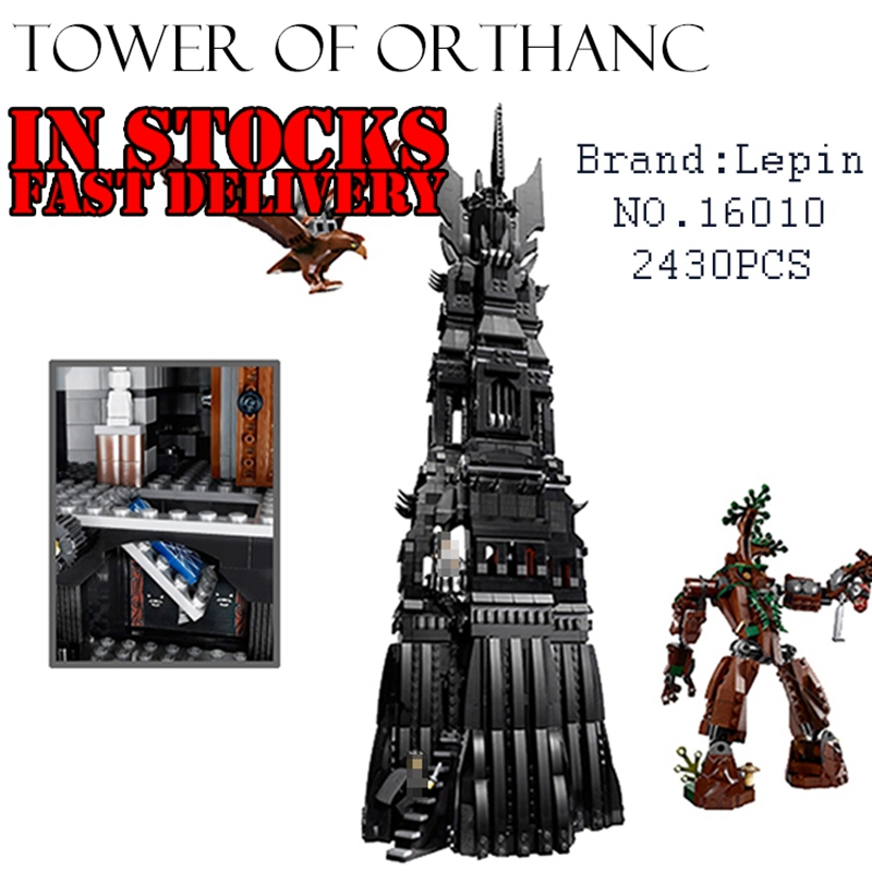 LEPIN 16010 2430Pcs Lord of the rings figure The Tower of Orthanc Model Building Bricks Blocks Compatible 10237 Hobbit Toys 1 6 scale full set soldier the lord of the rings elven prince legolas action figure toys model for collections