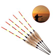 5 Pcs/Set Fishing Float Fluorescent Tail Luminous Stick Floating Buoy Tackle Barr Wood Wooden Sticks Accessories Ice