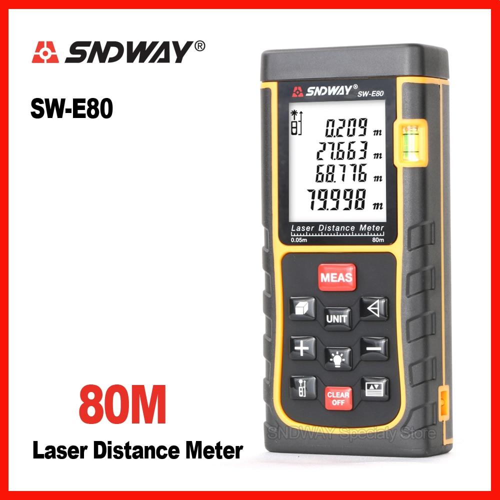New brand Sndway 80m Handheld laser range finder distance tape measure roulette meter trena rangefinder Electronic rulers m046 new laser guide ultrasonic distance measure range finder 15m mastech ms6450