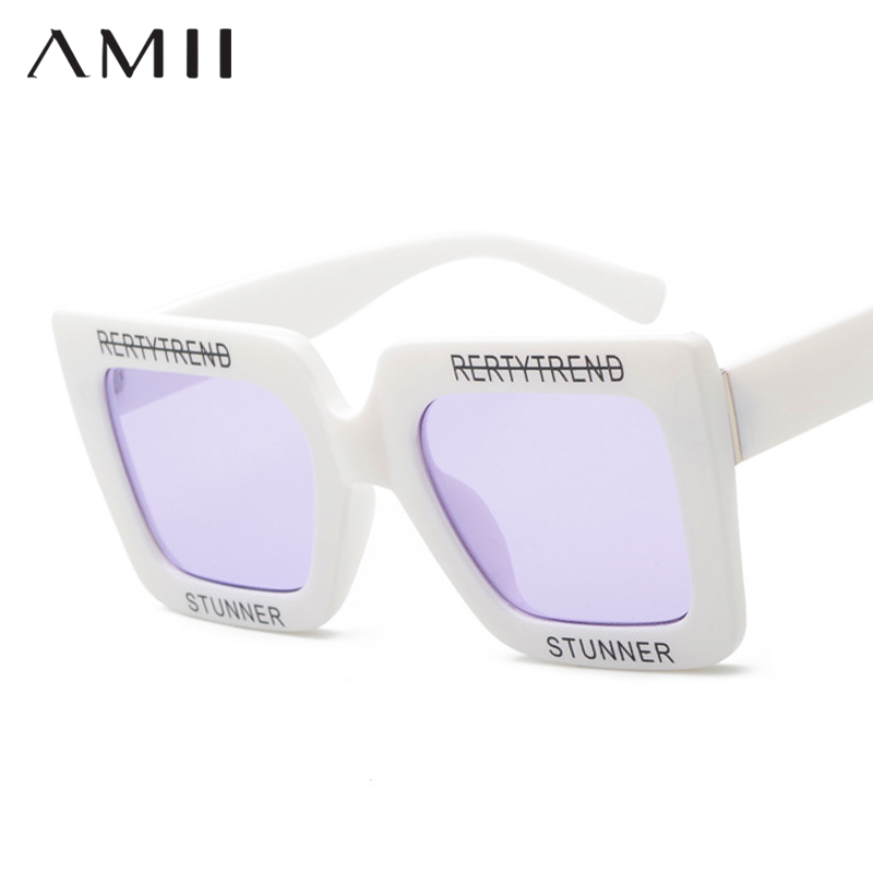 AMII Square Sunglasses Women Brand Over Size Sun Glasses Ladies 2018 New Gradient Oculos Mirror Shades UV400