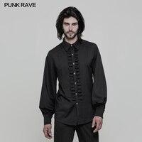 2018 Punk Rave men's Uniform Long sleeve Shirt black fashion rock top WY846