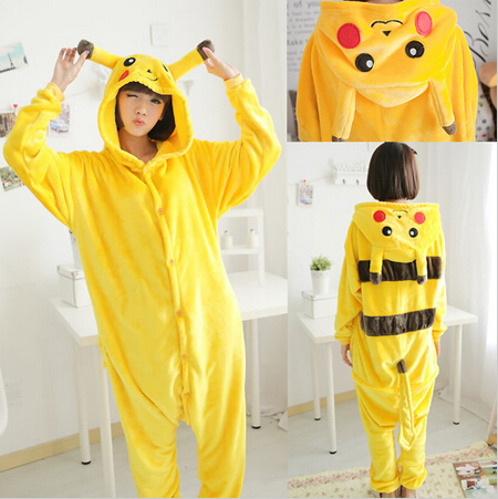 Pokemon Pikachu Flannel Unisex Lovers Cosplay Costumes Sleepwear Pajamas For Adult Animal Onsies Animal Pajamas Free Shipping