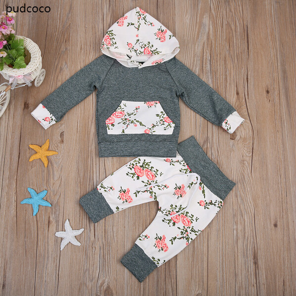 2pcs Baby Boy Girls Autumn Pocket Clothes Set Kids Long Sleeve Floral Hooded Tops+Flowear Pants Outfits Clothing Set Gray 0-24M