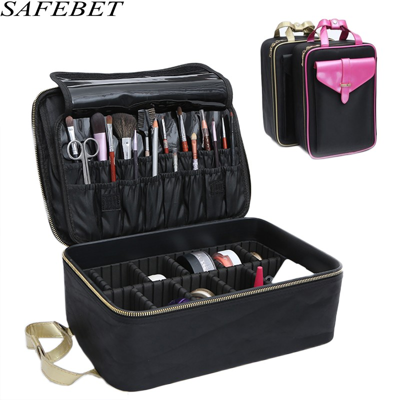 SAFEBETBrand Women Large Waterproof Travel Multifunction Cosmetic Bag Beautician Organizer Case Necessaries Makeup Cosmetic case