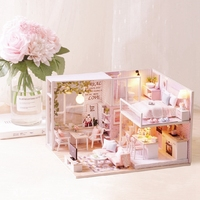 Mini Wooden DIY Craft Decoration Christmas Gift Double Layer Building Model Doll Houses Furniture Miniature Patient Training Toy