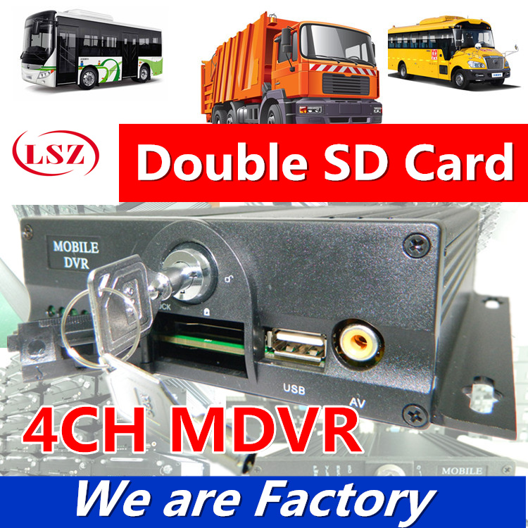 4 Road dual SD mdvr truck monitoring video recorder  bus bus rental truck monitoring host sales 4 channel 256g sd car vehicle dvr mdvr video recorder kit cctv rear view camera dome camera for truck van bus free shipping