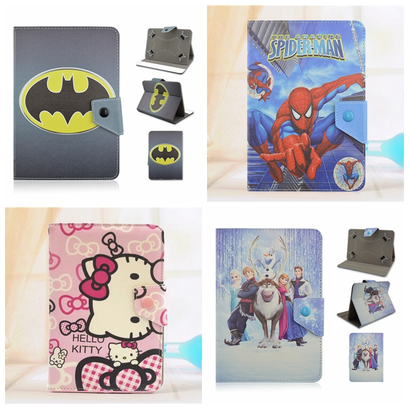 Batman Spider man Hello Kitty Anna Elsa Cartoon PU Leather Stand Cover Case Universal 7 Inch