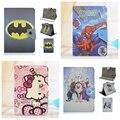 Batman homem Aranha Olá Kitty Anna Elsa Dos Desenhos Animados PU LEATHER Case Capa Suporte Universal 7 de polegada Tablet Caso