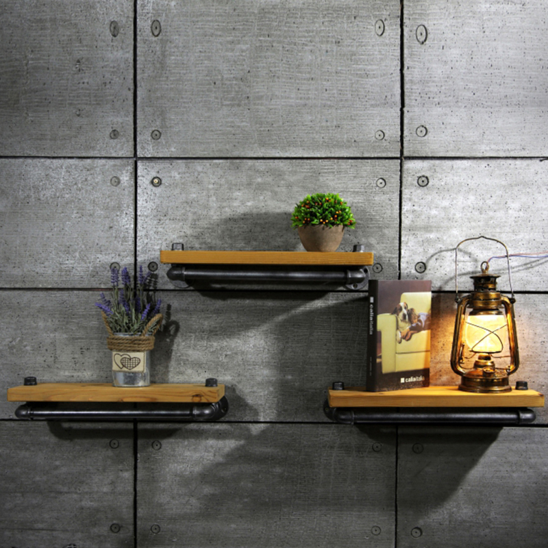 New Brand 25*15cm Wall Hanging Shelf Metal & Wood Storage Holders ...