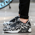LIN KING New Men Women Casual Shoes Sport Air Mesh Breathable Trainers Basket Zapatillas Male Walking Flat Printed Mixed Color