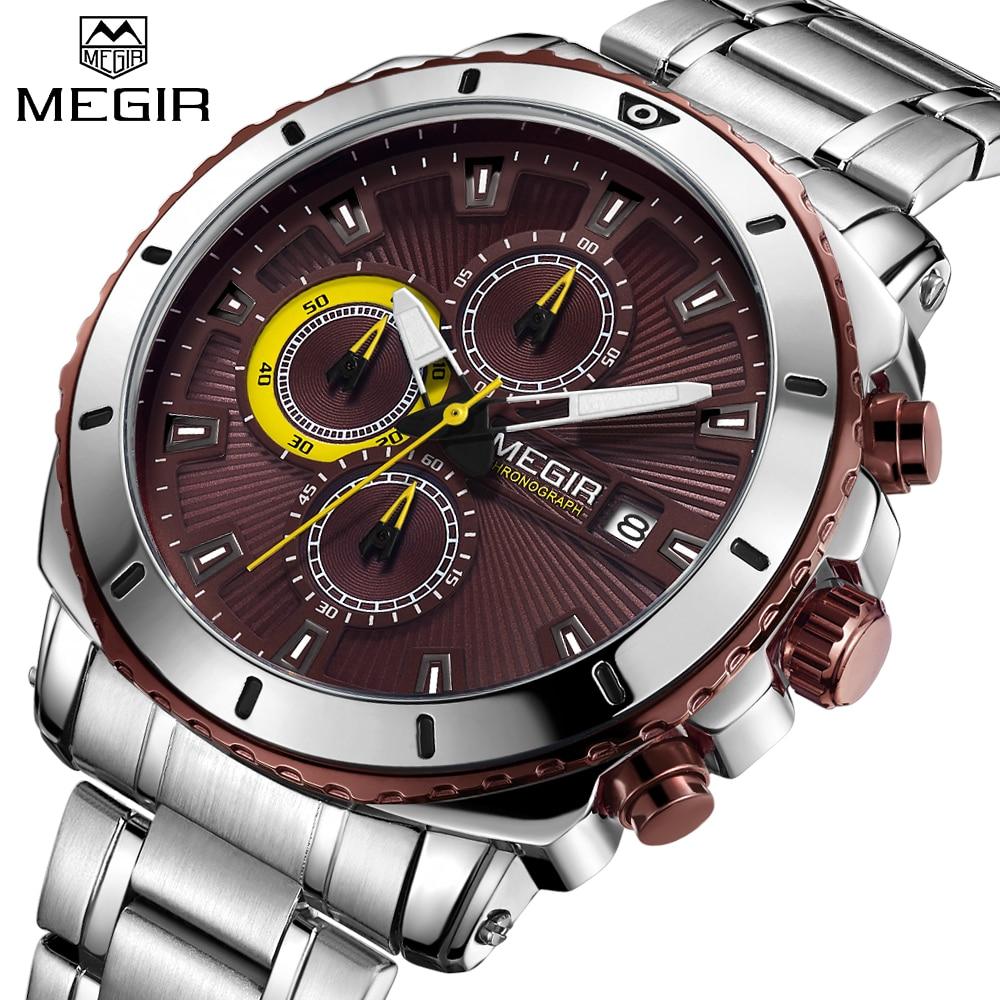 Nouveau Top Marque De Luxe MEGIR Montre Hommes Mode Sport Quartz Horloge Hommes Montres En Acier Plein Imperméable Relogio Masculino Chronographe