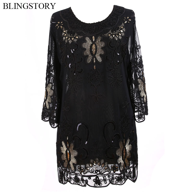 BLINGSTORY Vintage 1920s Middle age Women Embroidery Sequin T shirt Plus Size Top Tee Shirt XXXXXL KR3608 2