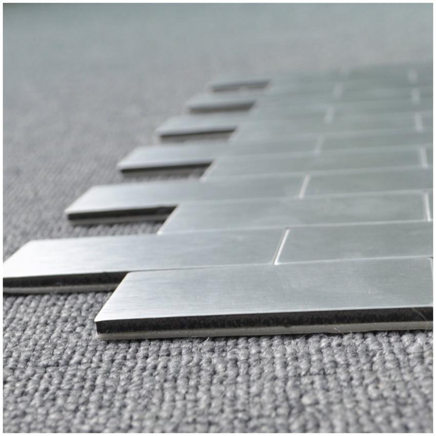 Art3d 10-Piece Peel and Stick Bathroom//Kitchen Backsplash Tile Silver Brush Metal Brick A16002P10