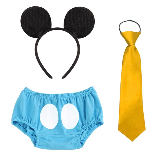 3Pcs Set Cake Smash Outfit Baby Boy Girl Clothes Cute Mickey Mouse Headband Pants Necktie 1st Birthday Shorts