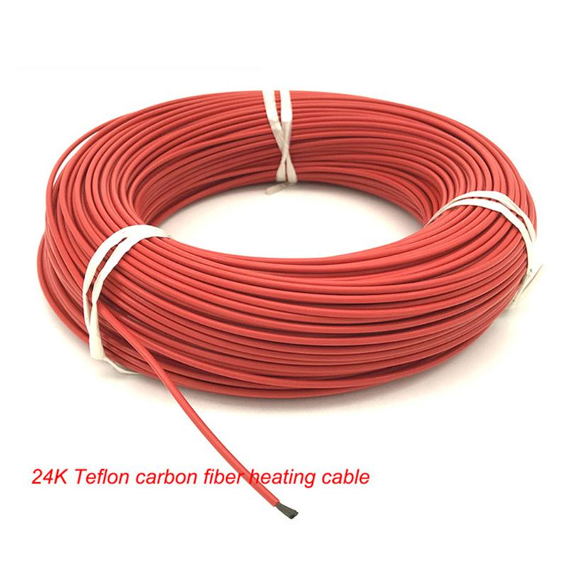 100m 24K New Infrare Carbon Fiber Insulated Teflon Heating Cable Wire of 2 3mm PTFE 17Ohm
