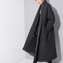 [soonyour] 2017 spring  new temperament loose plus size black lapel long-sleeved long coat jacket WTH1201