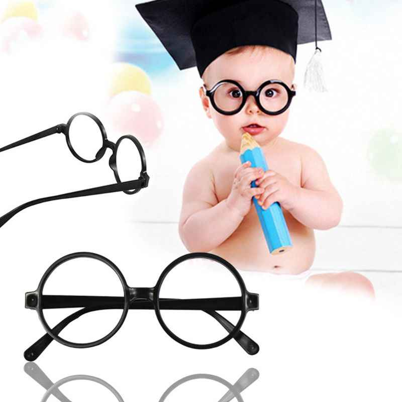 Retro Nerd Gaya Lucu Bayi Putaran Bingkai Kacamata Tanpa Lensa Permen Warna Plastik Ibu Putri Cosplay Pesta Kostum Kacamata JUN6