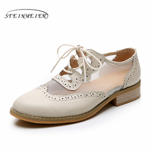 Image 4 - Women Genuine leather flats oxford shoes for women vintage plus size lady flats oxfords shoes woman loafers sneakers 2020 summer