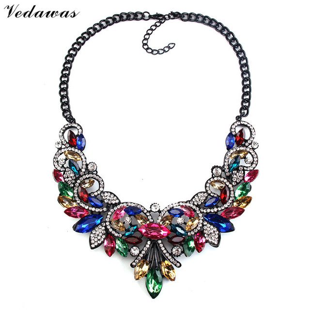 Vedawas Fashion Jewelry Multicolor Crystal Rhinestone Choker Necklace Women Luxury Collar Collier Maxi Statement Necklace XG1645