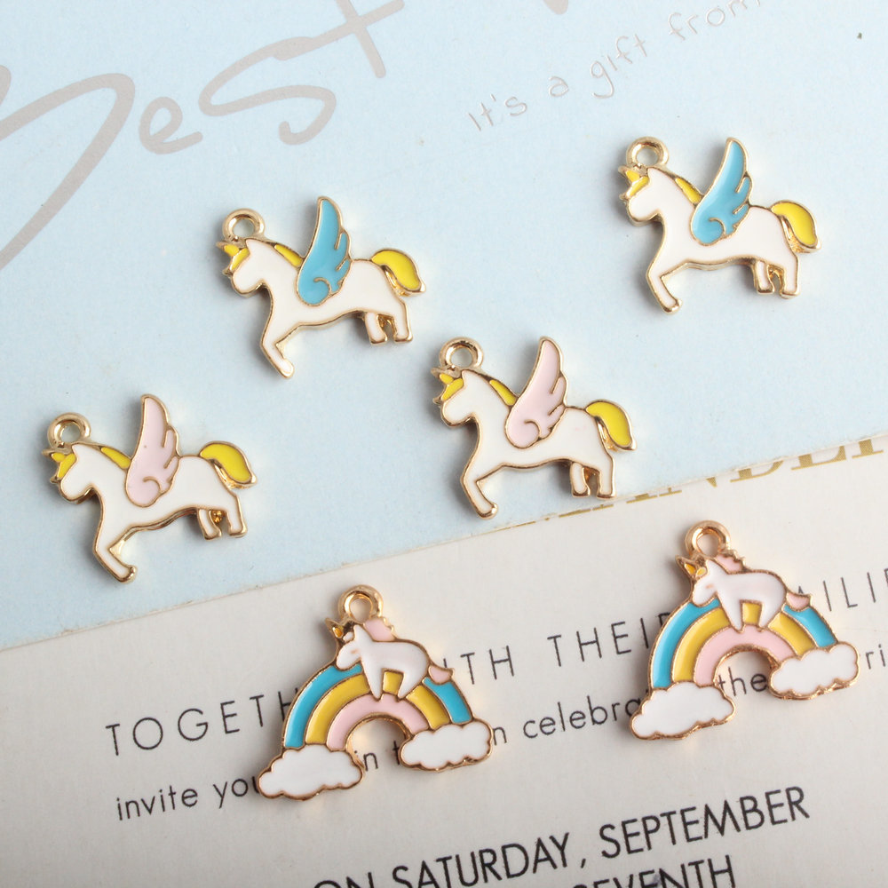 Jewelry & Accessories Charms Qualified Mrhuang 10pcs/pack Rainbow Horse Enamel Charms Diy Bracelet Earrings For Women Jewelry Accessory