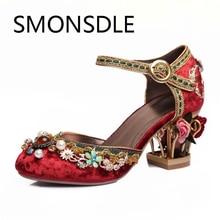 Retro Mewah Suede Kulit Asli Wanita Sandal Buatan Tangan Bordir Bunga Musim Panas Sepatu Kristal Mutiara Sepatu Pernikahan untuk Wanita