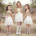 Varejo 2017 Meninas de verão lantejoulas vestido de gaze branca, traje da princesa, traje da menina, SE01