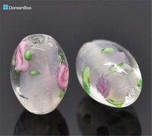 Doreen box светло розовые стеклянные бусины в форме цветка 14x10