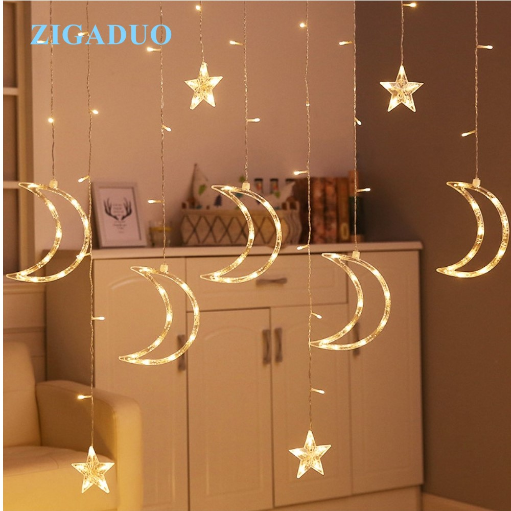 3.5M Romantic Holiday Lights Star Moon Led Curtain String Light Warm EU220V Xmas Christmas Garland Light For Wedding Party Decor 12 leds romantic fairy star led curtain string light warm white eu us 220v xmas garland light for wedding party holiday deco