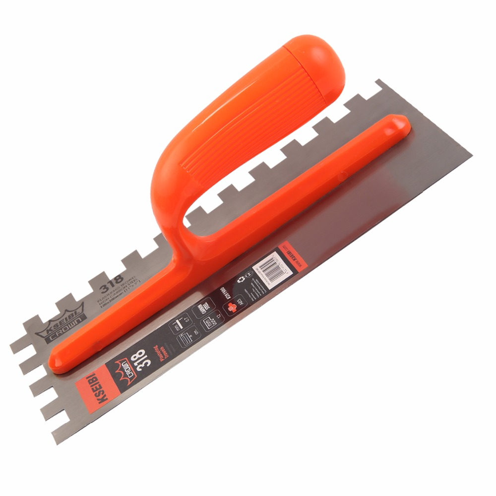 KSEIBI 28x12cm Plastering Finishing Trowel Steel Blade ABS Plastic Handle Notched Square 12x12mm Finishing #281980