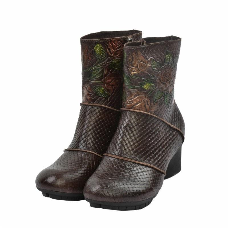 Mano De Vaca Hecho Retro Solo Con Flores Mujer Folk Estilo Pintado A Tacón Bajo Botas Cuero Cortas Coffee Zapatos Piel Sqx45
