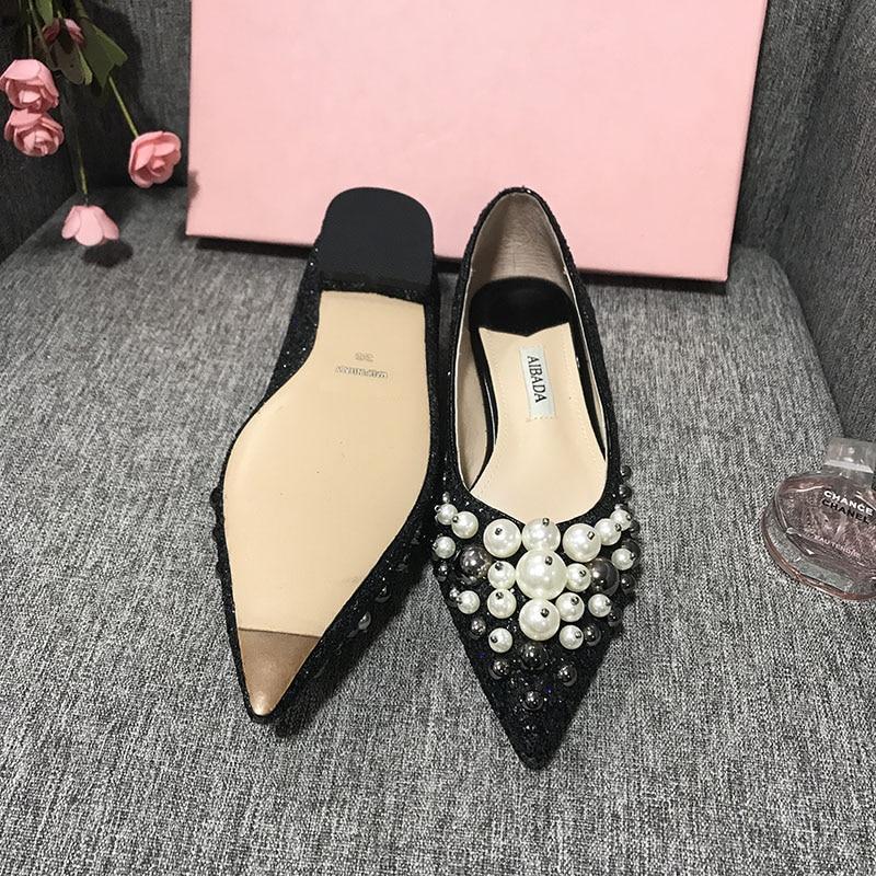Chaussures Glitter Mariage Dames Paillettes Noir Casual Sur De Argent gun Appartements Silver Slip Printemps Perles Metal Mode Femmes black Bureau PEwnIEqZr